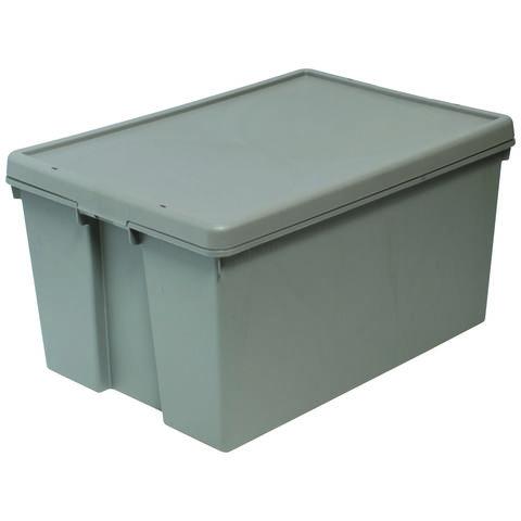 Barton Storage Barton Storage 012498/5 - 96LTR Upcycled Plastic Box & Lid - Grey Pack of 5 (700 x 500 x 370mm)