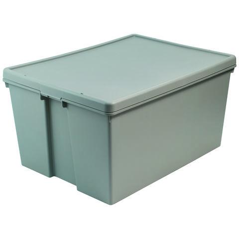 Barton Storage Barton Storage 012499/5 - 150LTR Upcycled Plastic Box & Lid - Grey Pack of 5 (800 x 600 x 420mm)