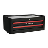 Sealey AP28102BR Mid-Box 2 Drawer Retro Style (Black and Red)