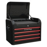Sealey AP28104BR Topchest 4 Drawer Retro Style (Black and Red)