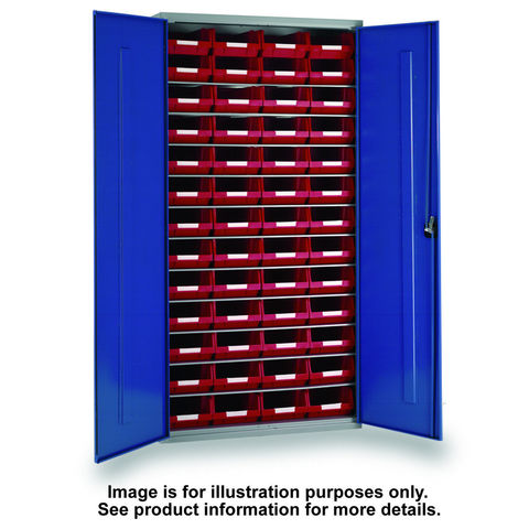 Image of Barton Storage Topstore 013055 11 Shelf Cabinet with 52 TC4 Red Bins