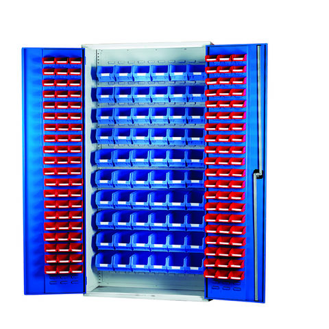 Image of Machine Mart Xtra Barton 013066 Louvre Panel Cabinet with 120 Red & 60 Blue Bins