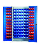 Barton 013066 Louvre Panel Cabinet with 120 Red & 60 Blue Bins