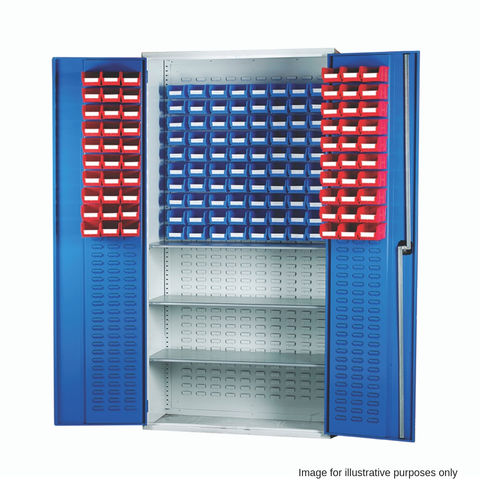 Image of Barton Storage Barton 013082 Louvre Panel Cabinet with TC1 and TC2 Containers and 3 Shelves (Red and Blue Bins)