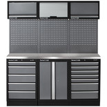 Clarke COMBGSM04 Modular Storage System 14 Piece Package Stainless Steel Worktops