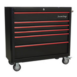 Sealey AP41206BR Rollcab 6 Drawer Wide Retro Style (Black and Red)
