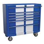 Sealey AP41206BWS Rollcab 6 Drawer Wide Retro Style (Blue and White)