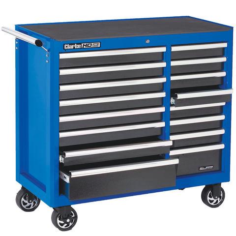 clarke cbb226blb extra large hd plus 16 drawer tool cabinet blue machine mart machine mart. Black Bedroom Furniture Sets. Home Design Ideas