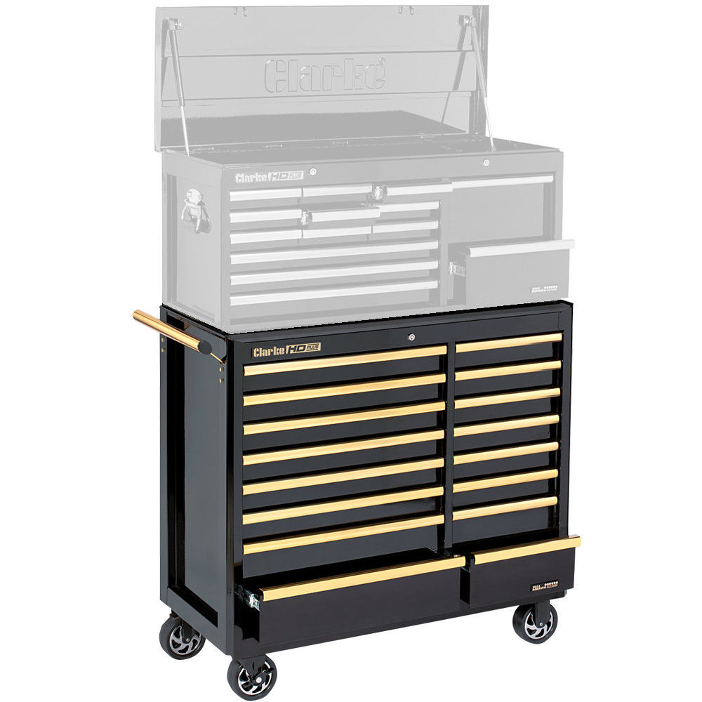 clarke cbb226bgb hd plus 16 drawer tool cabinet black u0026 gold - Tool Cabinets