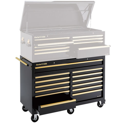 Image of Clarke Clarke CBB230BGB Extra Large HD Plus 13 Drawer Tool Cabinet (Black & Gold)