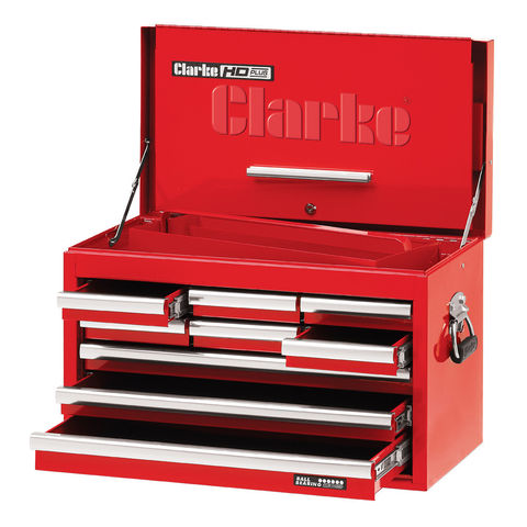 "Image of Clarke Clarke CBB209DF 26"" 9 Drawer Tool Chest with Front Cover - Red"