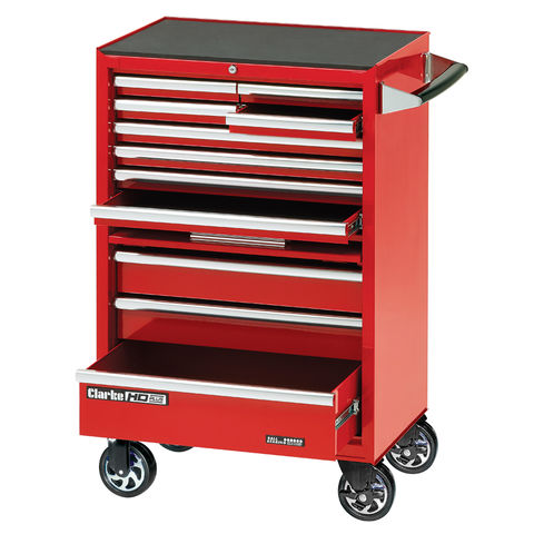 "Image of Clarke Clarke CBB211DF 26"" 11 Drawer Mobile Cabinet with Front Cover - Red"