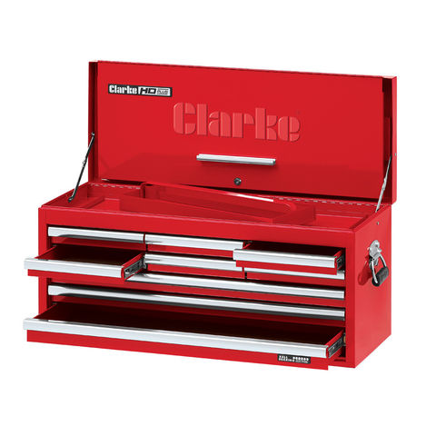 Image of Clarke Clarke CBB309DF Large 9 Drawer Tool Chest with Front Cover - Red