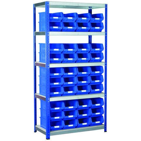 Image of Machine Mart Xtra Barton Storage Eco-Rax TC Shelving Unit With 40 TC4 Blue Containers