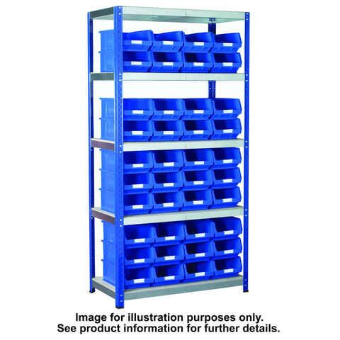 Image of Machine Mart Xtra Barton Storage Eco-Rax TC Shelving Unit With 40 TC4 Red Containers