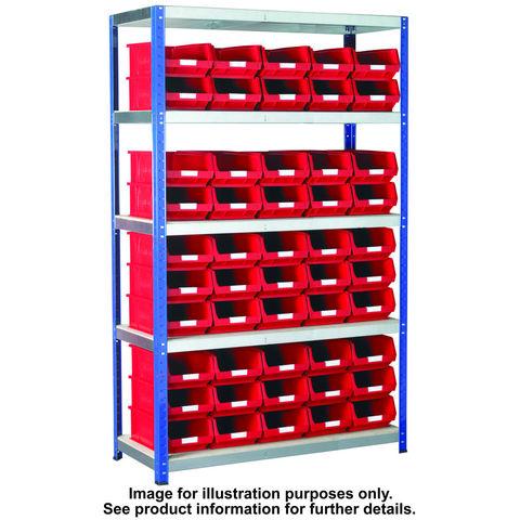 Image of Machine Mart Xtra Barton Storage Eco-Rax TC Shelving Unit With 50 TC4 Blue Containers