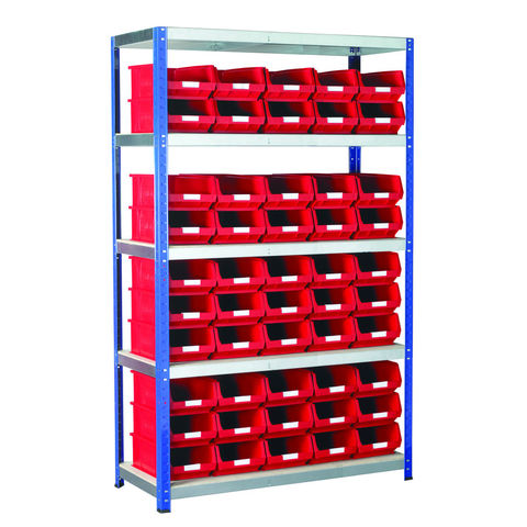 Image of Machine Mart Xtra Barton Storage Eco-Rax TC Shelving Unit With 50 TC4 Red Containers