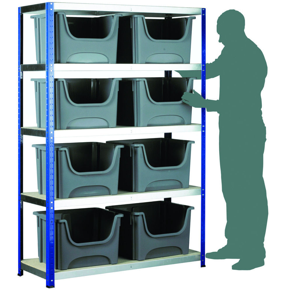 Barton Storage Eco Rax Shelving Unit With 8 Space Bin Containers