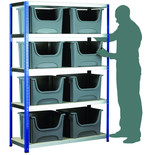 Barton Storage Eco-Rax Shelving Unit With 8 Space Bin Containers