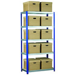 Barton Storage Eco-Rax Shelving Unit With 10 Archive Boxes and Lids