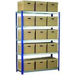 Barton Storage Eco-Rax Shelving Unit With 15 Archive Boxes and Lids