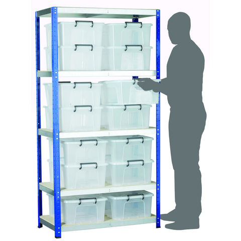 Image of Machine Mart Xtra Barton Storage Eco-Rax Shelving Unit With 14 24 Litre Storemaster Containers