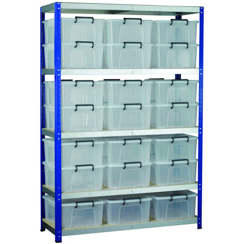 Image of Machine Mart Xtra Barton Storage Eco-Rax Shelving Unit With 21 24 Litre Storemaster Containers