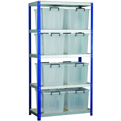 Image of Machine Mart Xtra Barton Storage Eco-Rax Shelving Unit With Eight 40 Litre Storemaster Containers