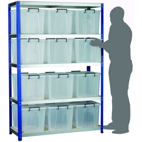 Image of Machine Mart Xtra Barton Storage Eco-Rax Shelving Unit With Twelve 40 Litre Storemaster Containers