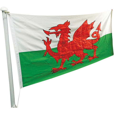 Image of One Stop Promotions One Stop Promotions Welsh Dragon Sewn Flag with Rope & Toggle (6x3ft)