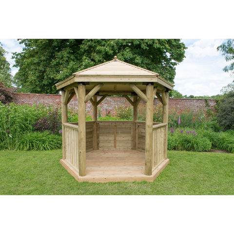 Forest 3m Hexagonal Garden Gazebo With Traditional Timber Roof