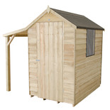 Forest 4x6ft Apex Overlap Pressure Treated Shed with Lean To (Assembled)