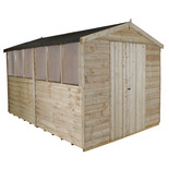 Forest 8x12ft Apex Overlap Pressure Treated Double Door Shed (Assembled)